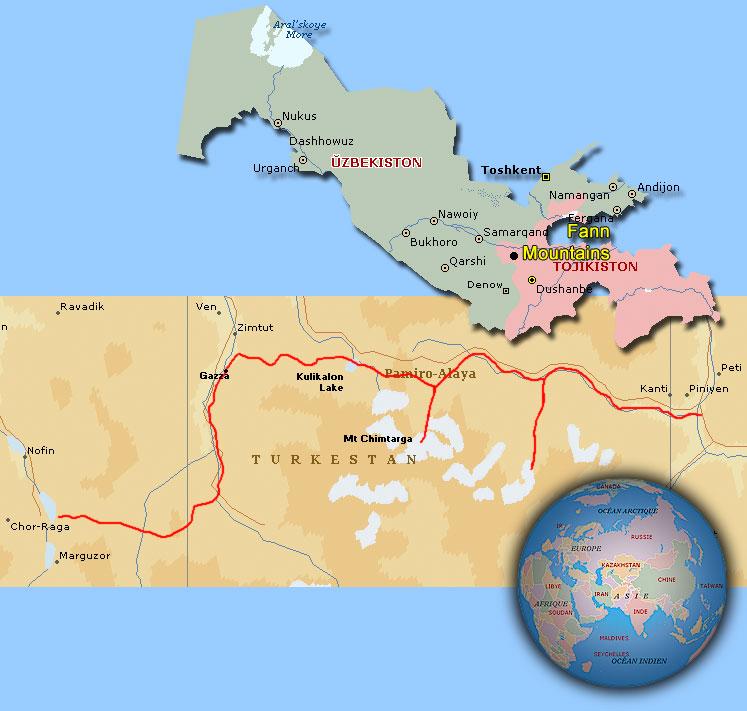 Distant Trails Uzbekistan And Tadjikistan - Norway encarta map