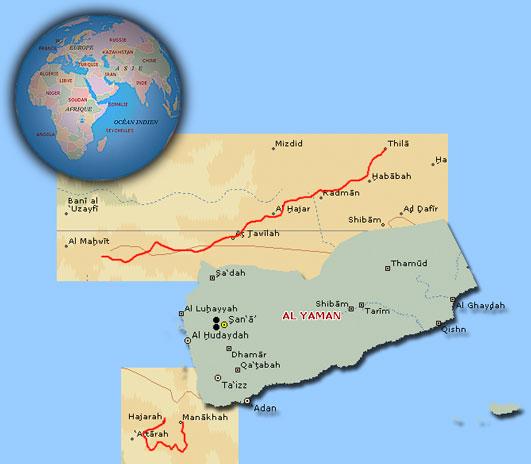 Distant Trails Yemen - Norway encarta map